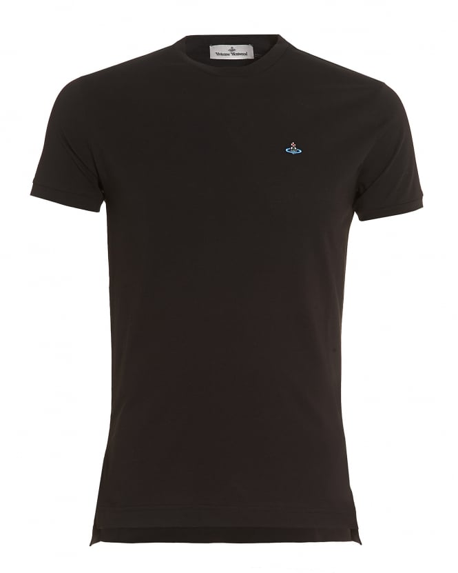 Vivienne Westwood Man Mens Plain Black Slim-Fit Classic Orb Logo T-Shirt