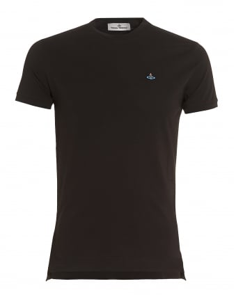 Mens Plain Black Slim-Fit Classic Orb Logo T-Shirt