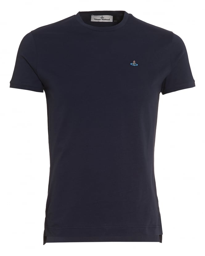 Vivienne Westwood Man Mens Plain Navy Blue Slim-Fit Classic Orb Logo T-Shirt