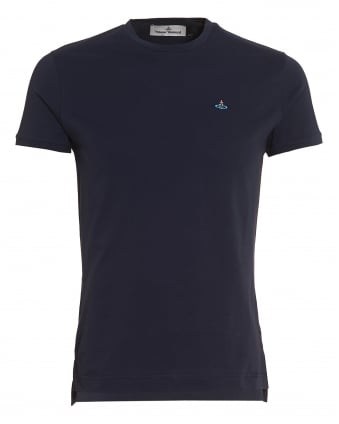 Mens Plain Navy Blue Slim-Fit Classic Orb Logo T-Shirt