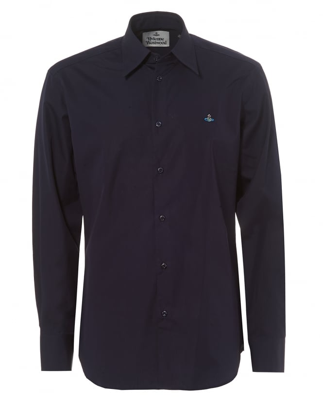 Vivienne Westwood Man Mens Pointed Collar Shirt, Regular Fit Navy Blue Orb Logo Shirt