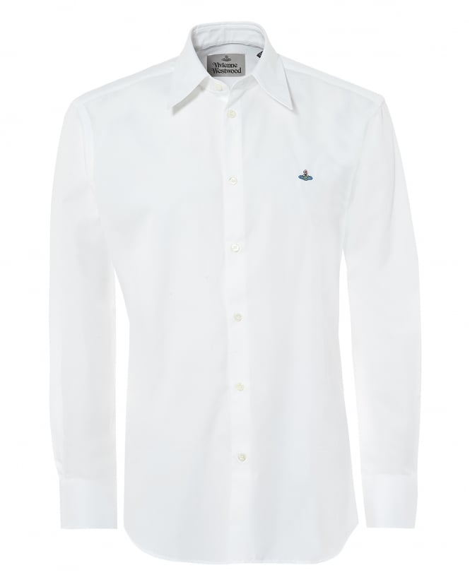 Vivienne Westwood Man Mens Pointed Collar Shirt, Regular Fit White Orb Logo Shirt