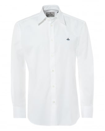 Mens Pointed Collar Shirt, Regular Fit White Orb Logo Shirt