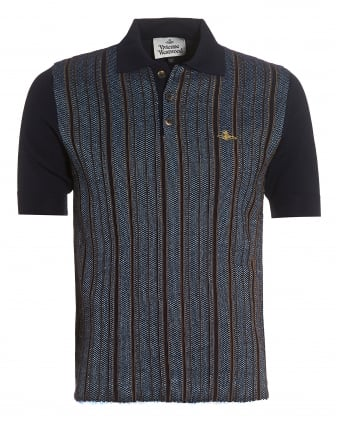 Mens Polo, Navy Blue Gold Striped Woven Polo Shirt