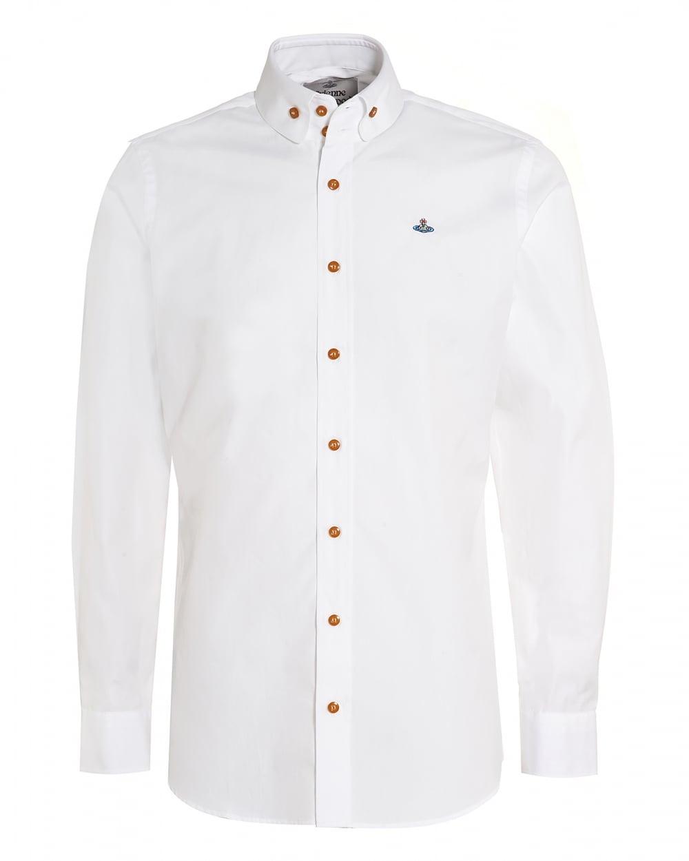 Vivienne Westwood Mens Rounded Collar Shirt White Orb Cotton Shirt