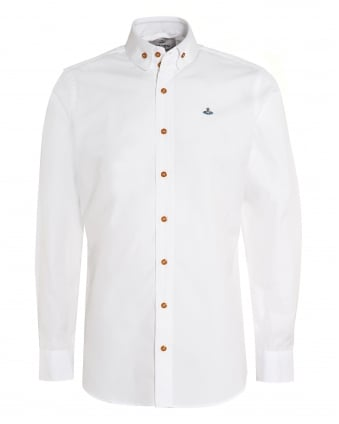 Mens Rounded Collar Shirt, White Orb Logo Cotton Shirt