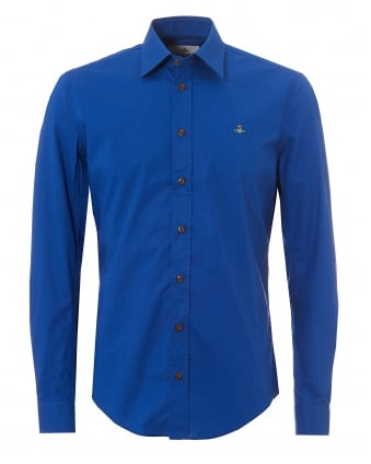 Mens Royal Blue Slim Fit Stretch Cotton Orb Logo Shirt