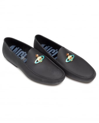 Mens Rubberised Moccasins, Enamelled Front Orb Black Loafers