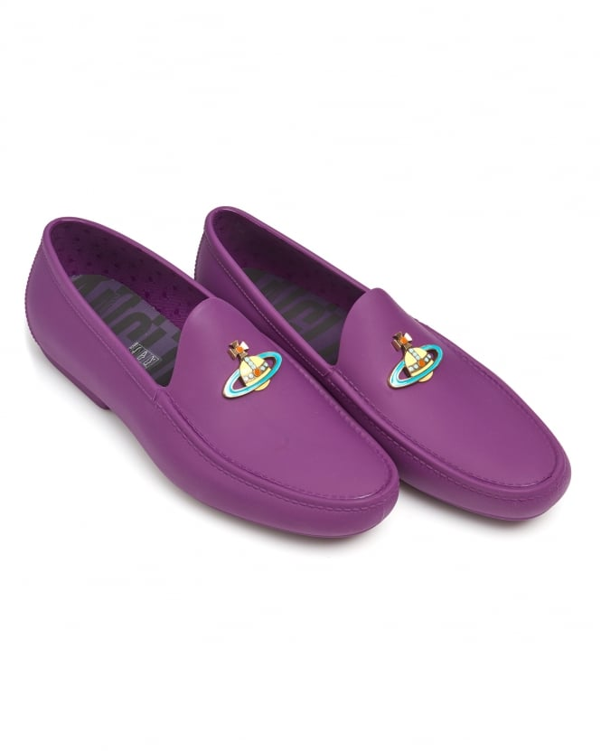 Vivienne Westwood Man Mens Rubberised Moccasins, Enamelled Front Orb Purple Loafers