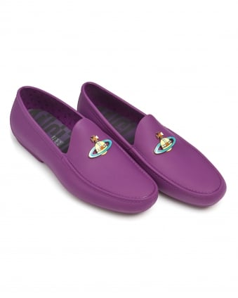 Mens Rubberised Moccasins, Enamelled Front Orb Purple Loafers