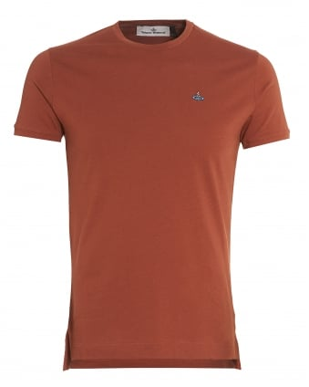 Mens Rust Slim-Fit Classic Orb Logo T-Shirt