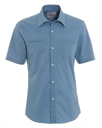 Mens Short Sleeved Plain Slim Fit Avio Blue Shirt
