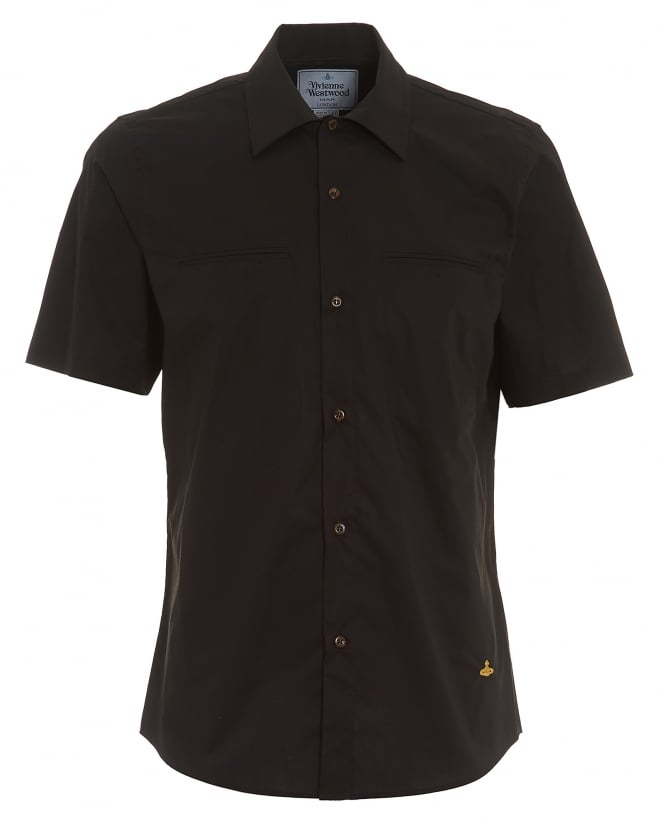Vivienne Westwood Man Mens Short Sleeved Plain Slim Fit Black Shirt
