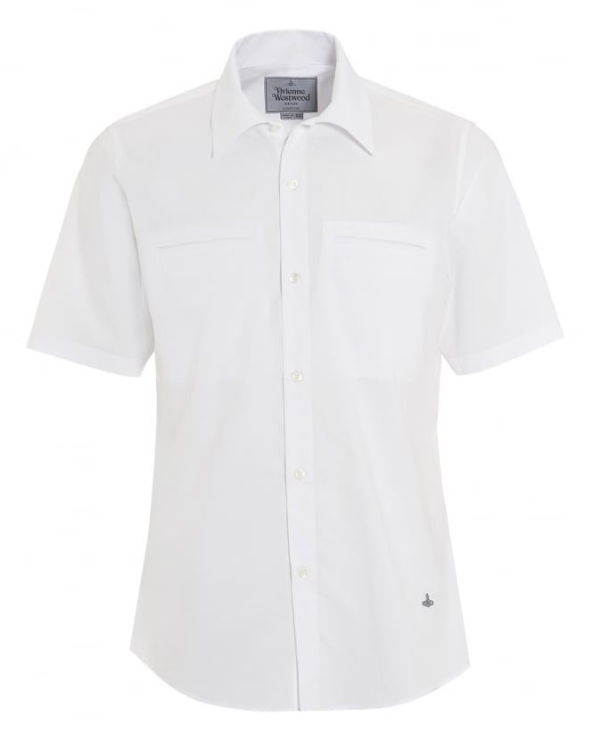 Vivienne Westwood Man Mens Short Sleeved Plain Slim Fit White Shirt
