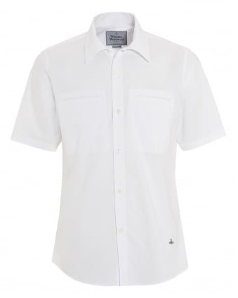Mens Short Sleeved Plain Slim Fit White Shirt