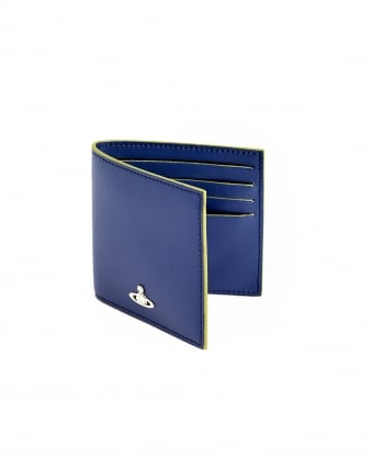 Mens Smooth Finish Contrast Yellow Trim Blue Wallet