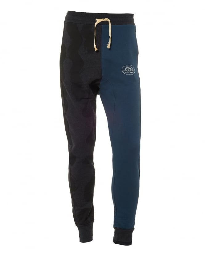 Vivienne Westwood Man Mens Split Colour Trackpants, Blue/Black Sweatpants