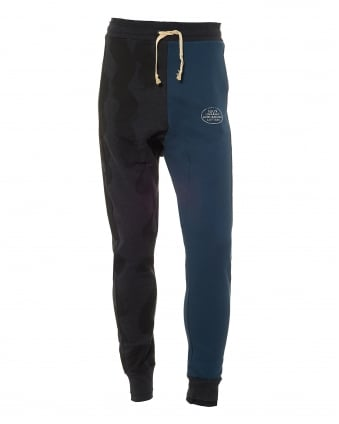Mens Split Colour Trackpants, Blue/Black Sweatpants