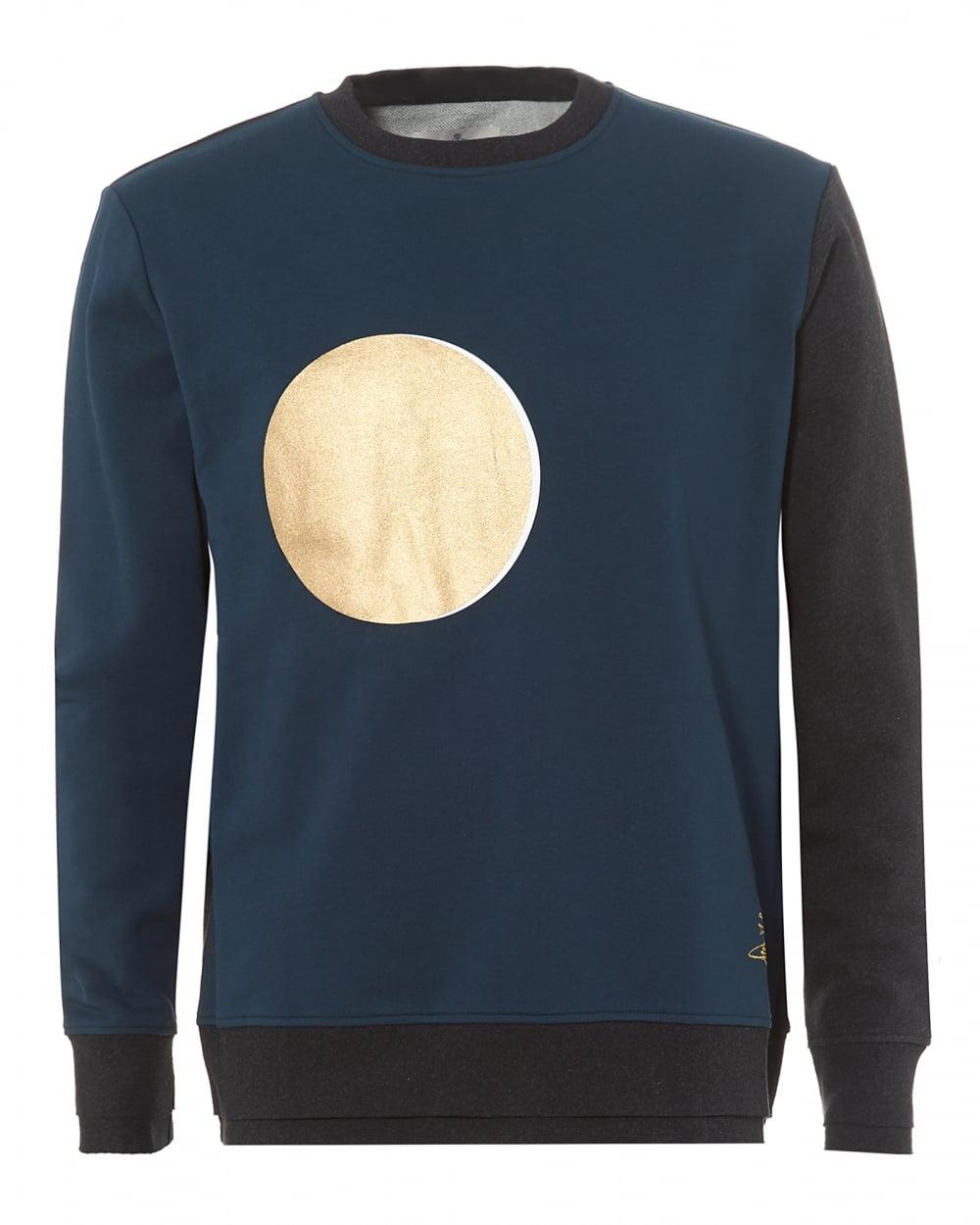 Vivienne Westwood Mens Sweatshirt, Blue Black Eclipse Print Sweater