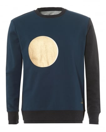 Mens Sweatshirt, Blue Black Gold Eclipse Print Moon Sweater