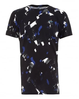 Mens T-Shirt, Black Squiggle Cross Camo Print Regular Fit Tee