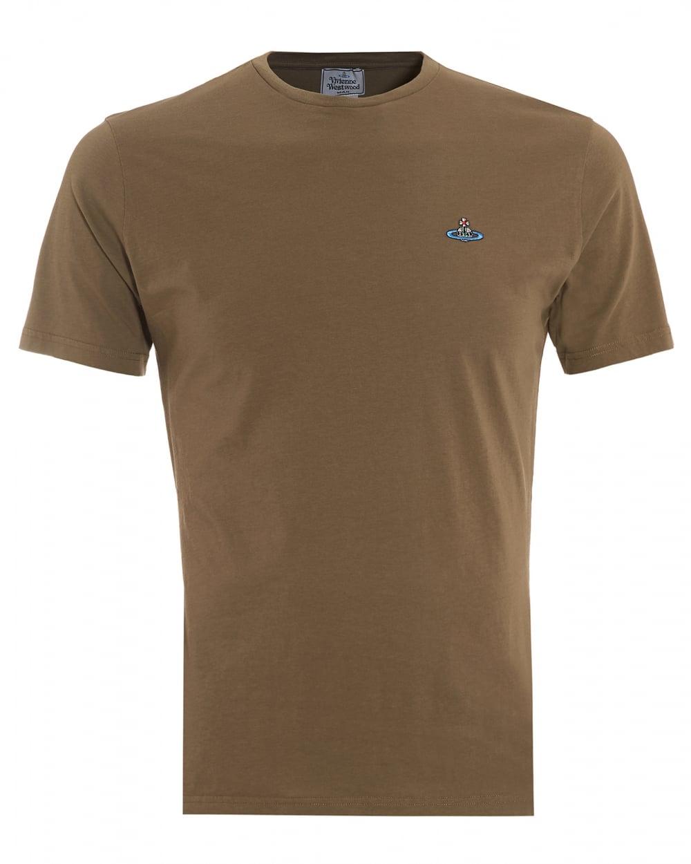 Vivienne westwood man mens t shirt orb logo olive green tee for Green mens t shirt