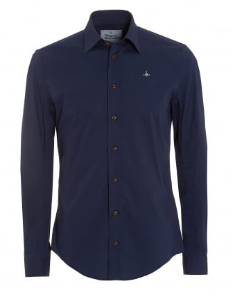 Mens Tailored Fit Long Sleeved Plain Navy Blue Shirt