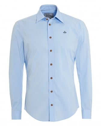 Mens Tailored Fit Long Sleeved Plain Sky Blue Shirt