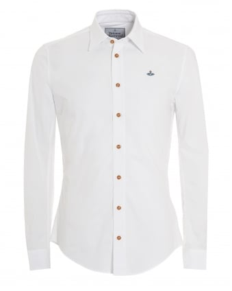 Mens Tailored Fit Long Sleeved Plain White Shirt