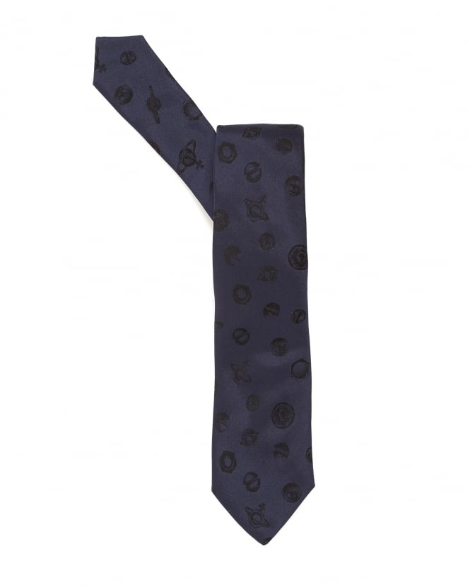 Vivienne Westwood Man Mens Tie, Bolts and Orbs Design Blue Tie