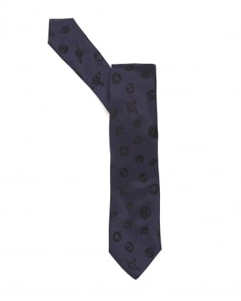Mens Tie, Bolts and Orbs Design Blue Tie