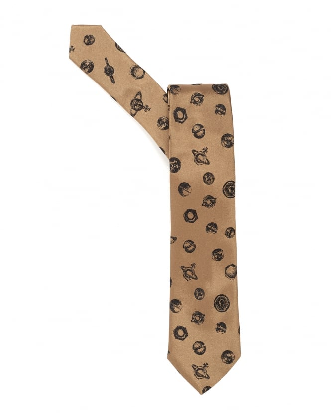 Vivienne Westwood Man Mens Tie, Bolts and Orbs Design Gold Tie