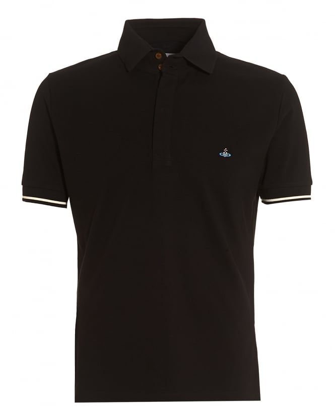Vivienne Westwood Man Mens Tipped Polo, Black Slim-Fit Orb Logo Polo Shirt