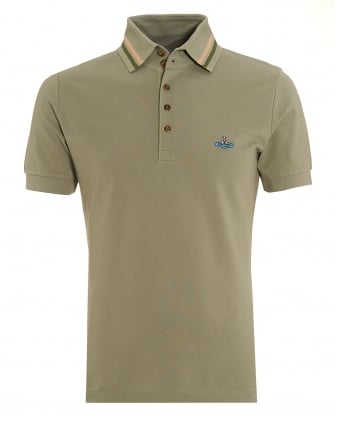 Mens Tipped Polo, Five Button Sage Green Polo Shirt
