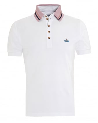Mens Tipped Polo, Five Button White Polo Shirt