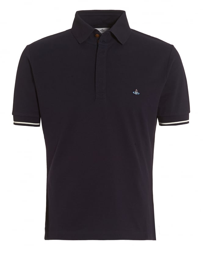 Vivienne Westwood Man Mens Tipped Polo, Navy Blue Slim-Fit Orb Logo Polo Shirt
