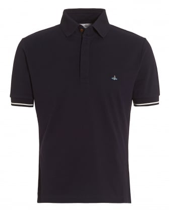 Mens Tipped Polo, Navy Blue Slim-Fit Orb Logo Polo Shirt