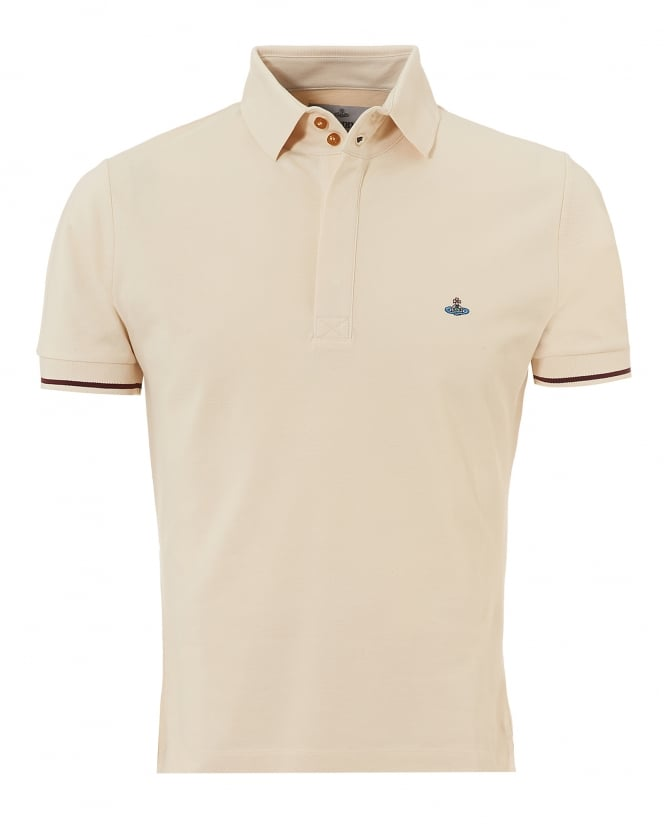 Vivienne Westwood Man Mens Tipped Polo, Off White Slim Fit Orb Logo Polo Shirt