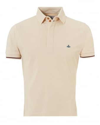Mens Tipped Polo, Off White Slim Fit Orb Logo Polo Shirt