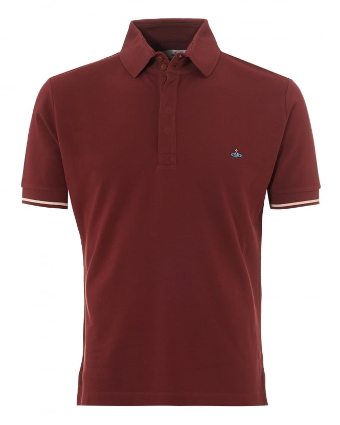 Vivienne Westwood Man Mens Tipped Polo, Red Slim Fit Orb Logo Polo Shirt