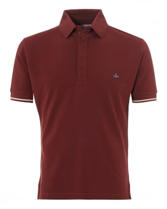 Mens Tipped Polo, Red Slim Fit Orb Logo Polo Shirt