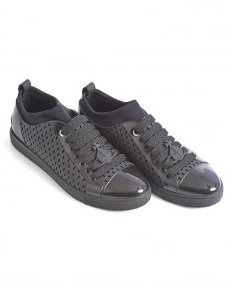 Mens Trainer, Black Perforated Rubber Sneaker