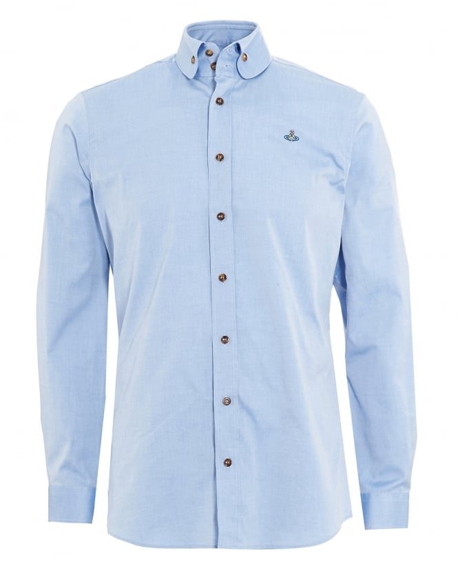Vivienne Westwood Man Mens Two Button Orb Logo Blue Shirt