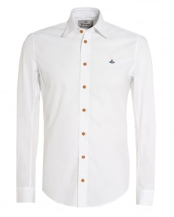 Mens White Slim-Fit Stretch Cotton Orb Logo Shirt