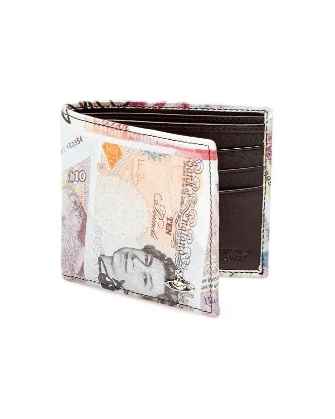 Vivienne Westwood Man Money Print Orb Leather Billfold Wallet