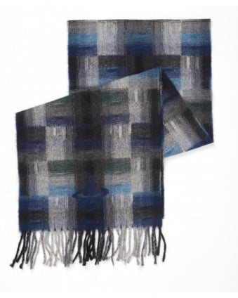 Plaid Tartan Blue Grey Checked Orb Scarf