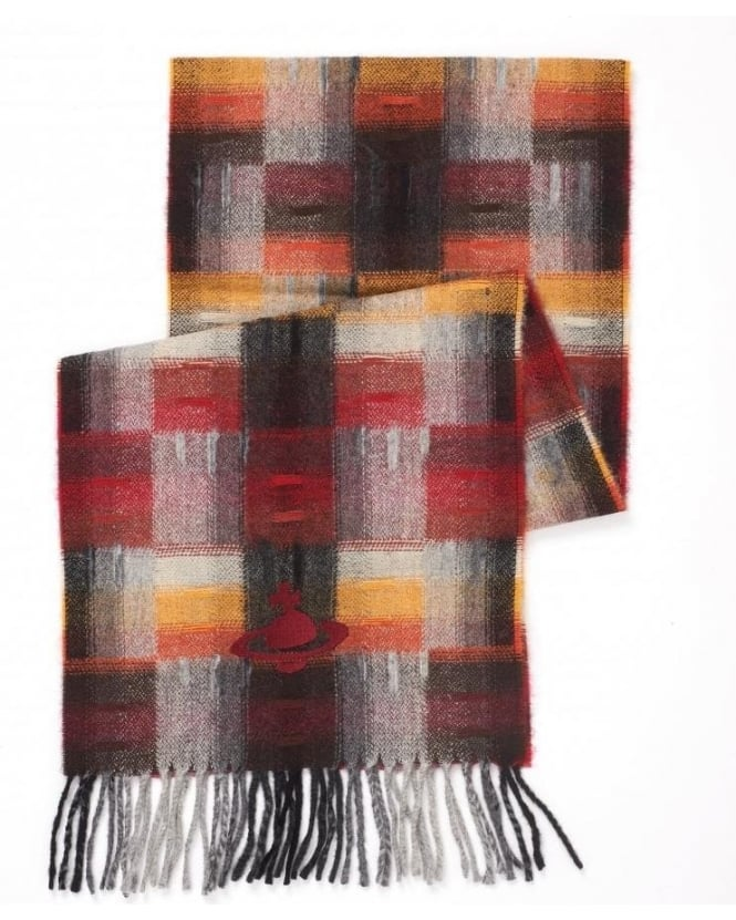 Vivienne Westwood Man Plaid Tartan Red Black Checked Orb Scarf