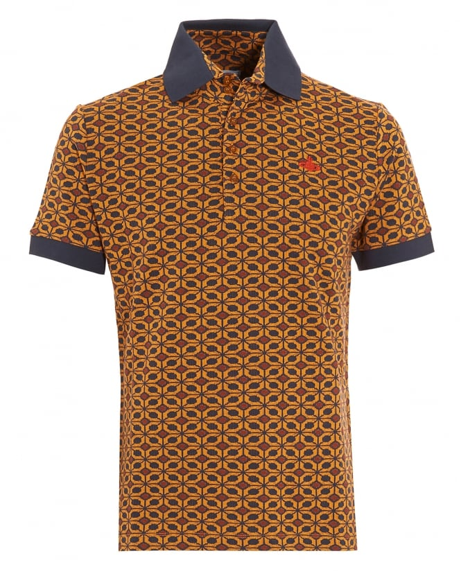 Vivienne Westwood Man Polo Shirt, Geometric Tan Brown Navy Polo