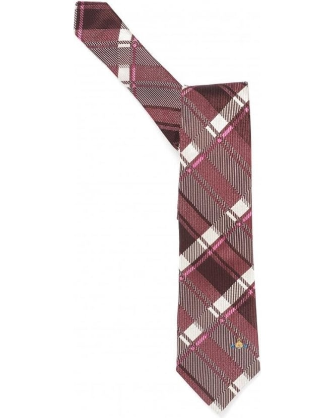 Vivienne Westwood Man Ties Red Pink Checked Tartan Print Silk Tie
