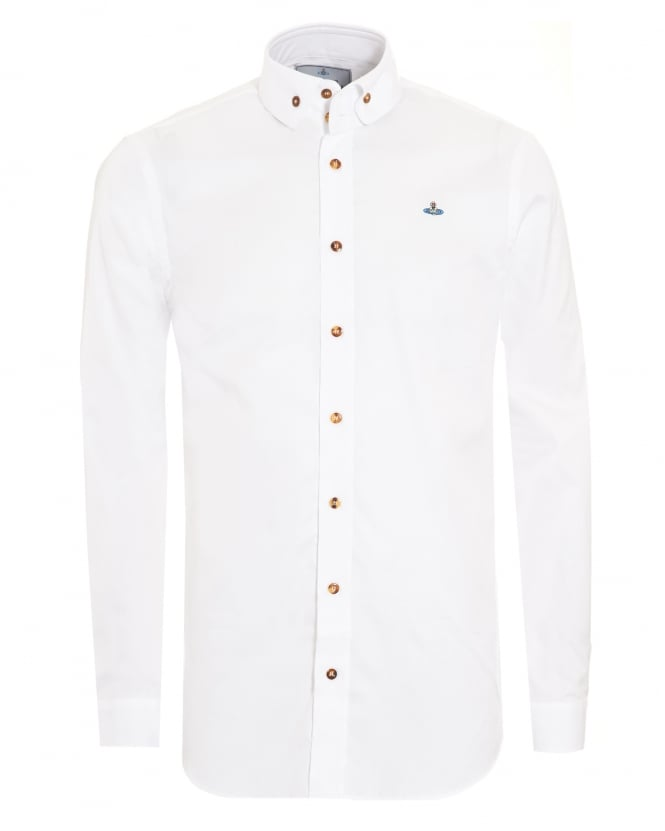 Vivienne Westwood Man Two Button Orb Logo White Shirt